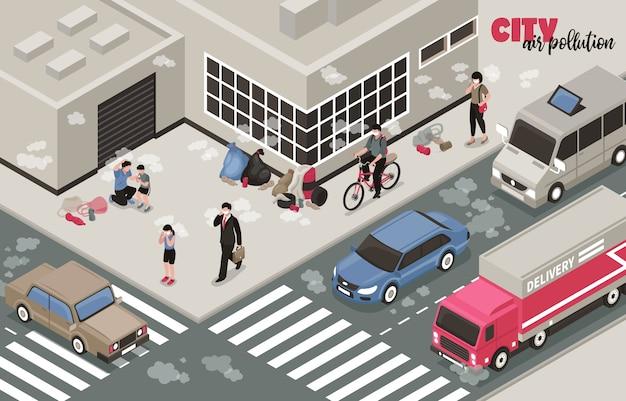 Illustrazione di inquinamento atmosferico con simboli di problemi della città isometrica Vettore gratuito