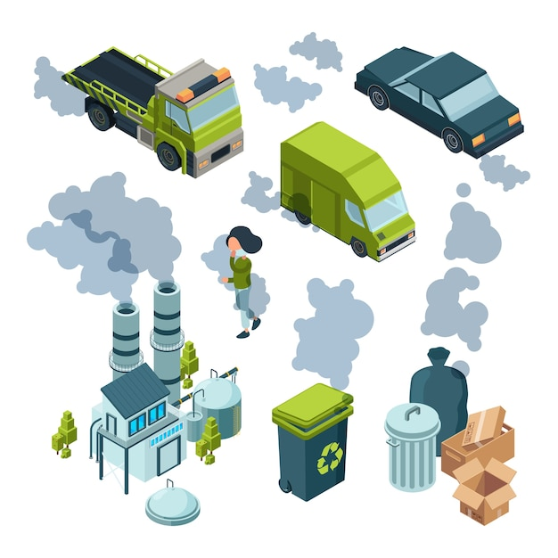 Air pollution isometric. factory bad environment chemical garbage urban vehicle trash vector isometric. illustration pollution air and smokestack Premium Vector
