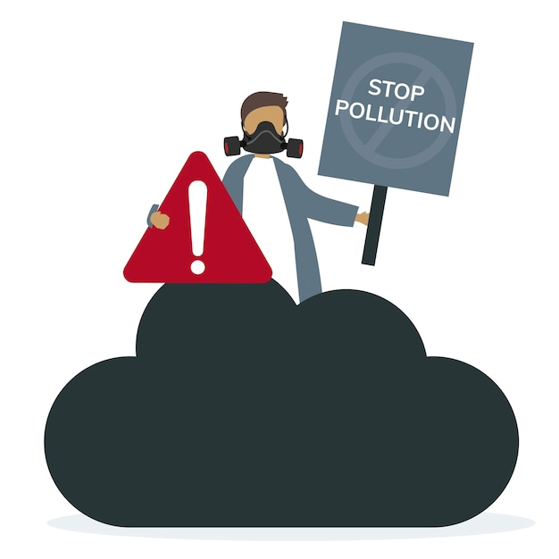 Air pollution smog and bad air Free Vector