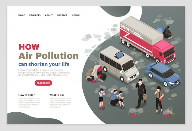 Air pollution website with city transport symbols isometric Free Vector