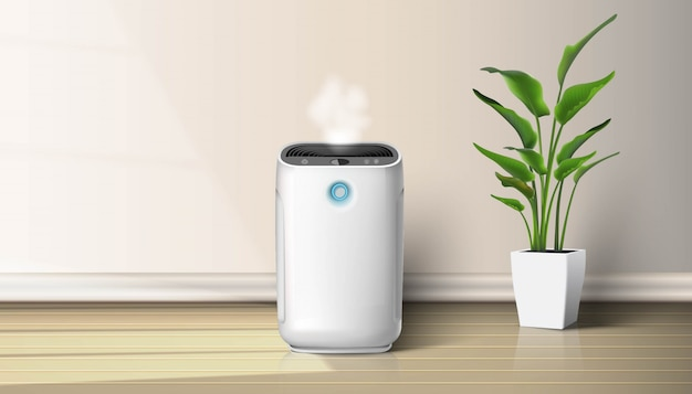 Air purifier in the interior on the wooden floor background ...