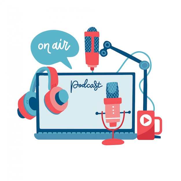 On air sign podcast concept. record studio devices - headphones, microphone, headset, laptop. media and entertainment. news, radio and television broadcasting elements. flat   illustration. Premium Vector