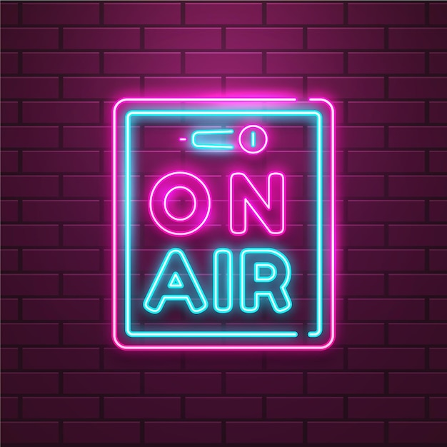 On air sign with neon frame Premium Vector