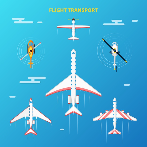 Air transport airport elements set Free Vector