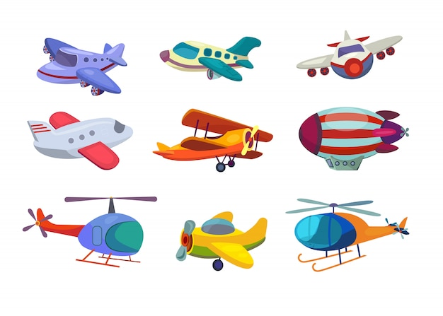 Air transportation set Free Vector