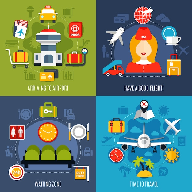 Air travel 4 icons concept Free Vector