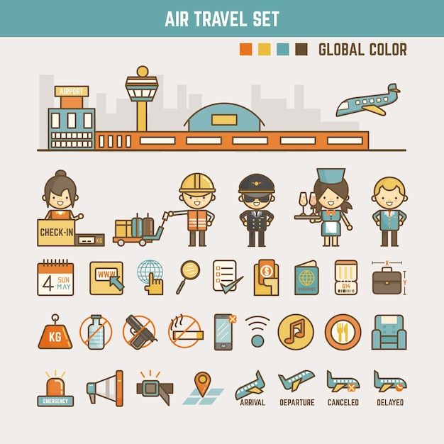 Air travel infographic elements for kids Premium Vector