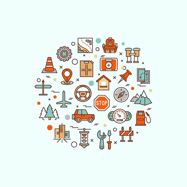 Air travel, resort vacation, tour planning, recreational rest, holiday trip line flat symbols. modern infographic  logo pictogram Premium Vector