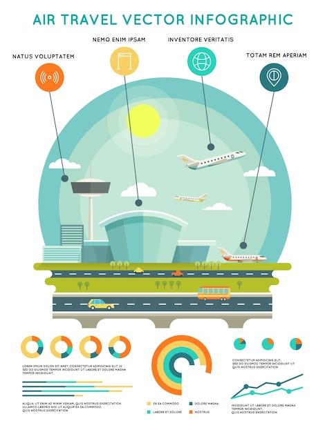 Modello di infographic di vettore di viaggio aereo con aeroporto e aeromobili. trasporti e viaggi, compagnia aerea di trasporto Vettore gratuito