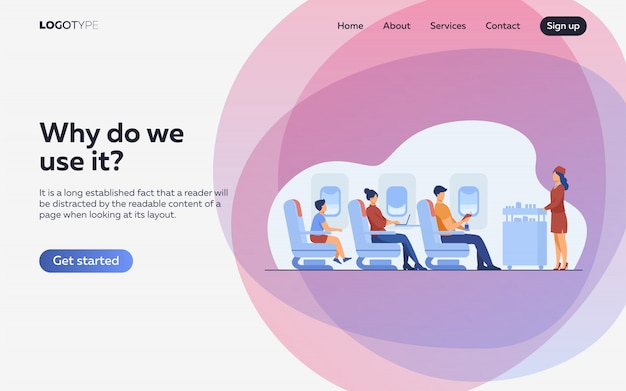 Air trip with comfort flat illustration. landing page or web template Free Vector
