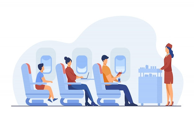 Air trip with comfort flat illustration Free Vector