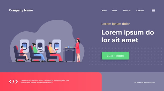 Air trip with comfort web template. passengers waiting for airline meal. people travelling by plane and sitting near airplane window. airline, tourism and journey concept. Free Vector