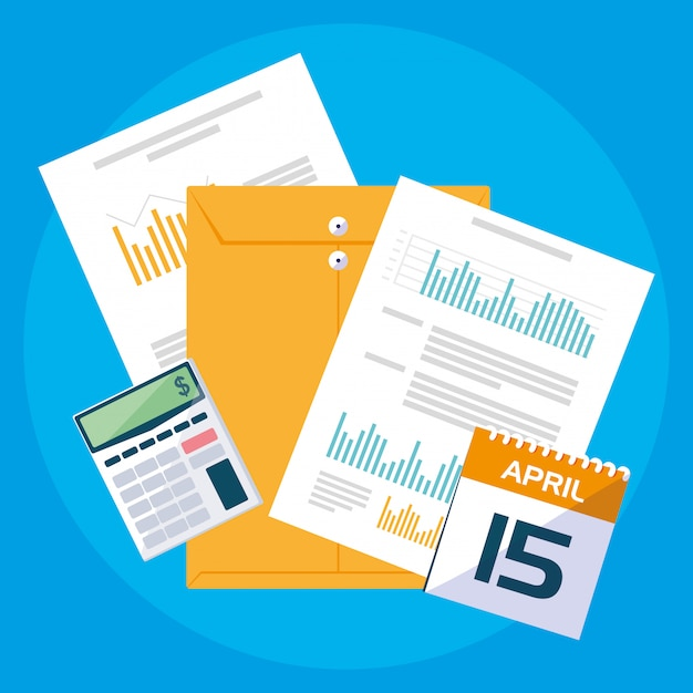 Air view documents and office set items Premium Vector