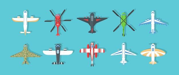 航空機および軍用機、ヘリコプターのコレクション。カラフルな飛行機やヘリコプターのアイコンのセットです。スタイル、トップビューで空を飛んでいる飛行機。空の旅。イラスト、。 Premiumベクター