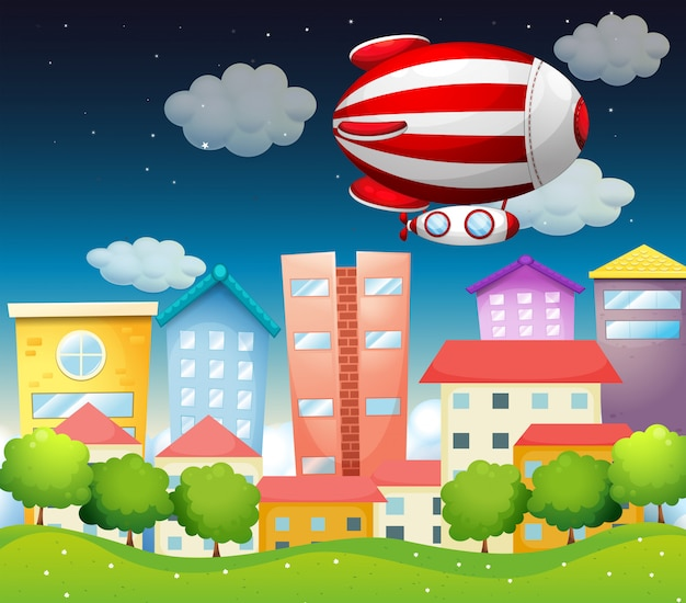 An aircraft above the buildings Free Vector