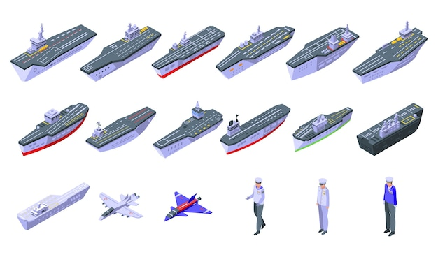 Aircraft carrier icons set. isometric set of aircraft carrier  icons for web  isolated on white background Premium Vector