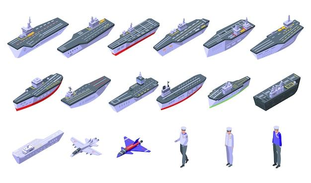 Набор иконок авианосца. изометрические набор иконок авианосца для интернета, изолированные на белом фоне Premium векторы