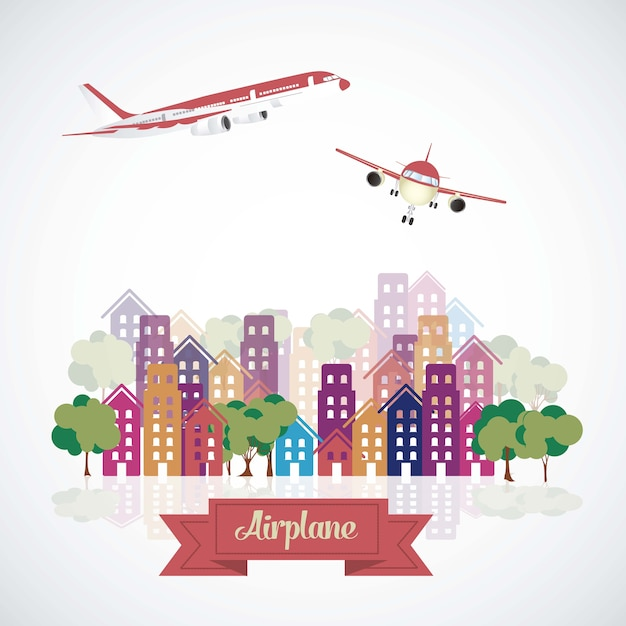 Aircraft in the city Premium Vector