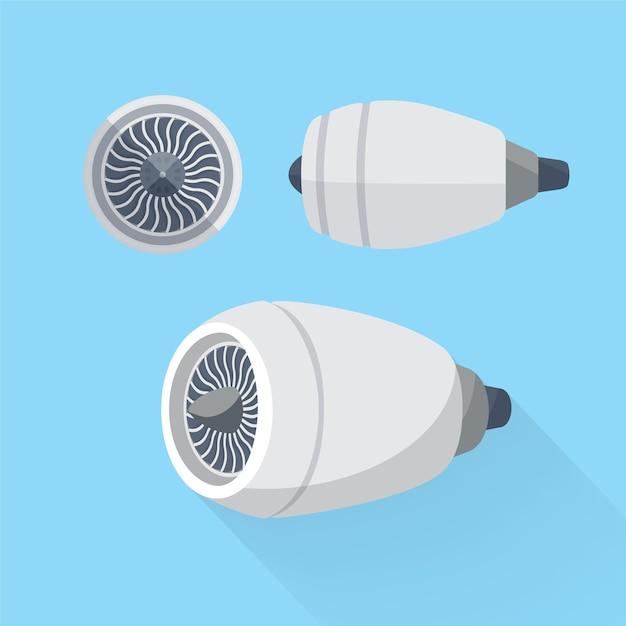 Турбинный агрегат авиационного двигателя. Premium векторы