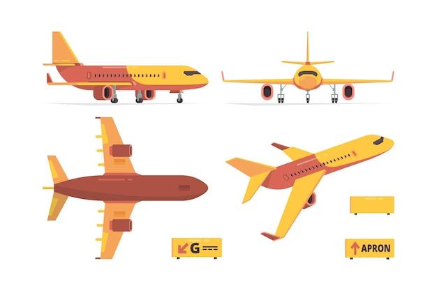 Плоский самолет. самолеты гражданской авиации разные виды летают коллекции символов. Premium векторы