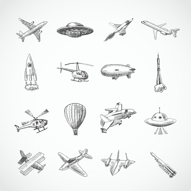 Aircraft helicopter military aviation airplane sketch icons set isolated vector illustration Free Vector