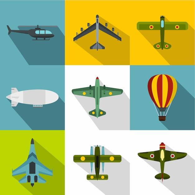 Aircraft icon set, flat style Premium Vector