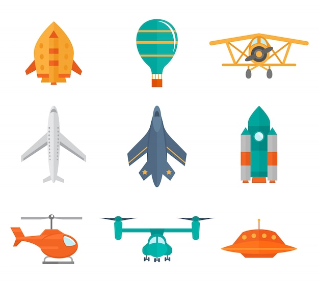 Aircraft icons flat set of space rocket\ propeller airplane ufo isolated vector illustration
