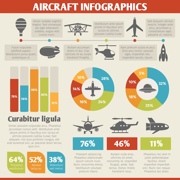 Aircraft icons infographic Premium Vector