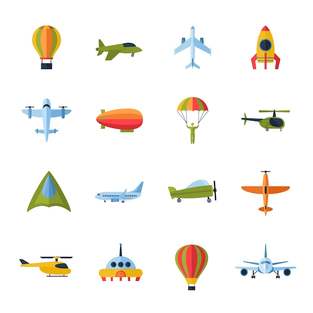 Aircraft icons set flat Free Vector