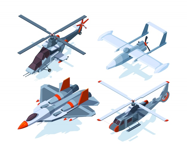 Aircraft isometric. warplanes and helicopter isolate Premium Vector