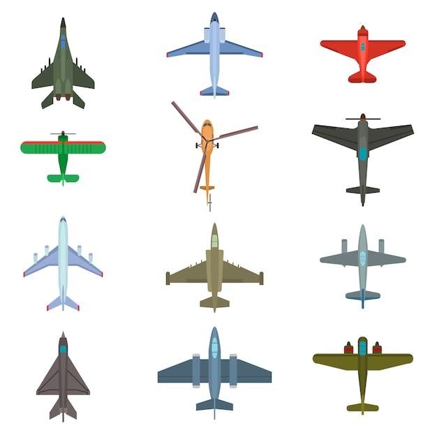 Aircraft plains top view set Premium Vector