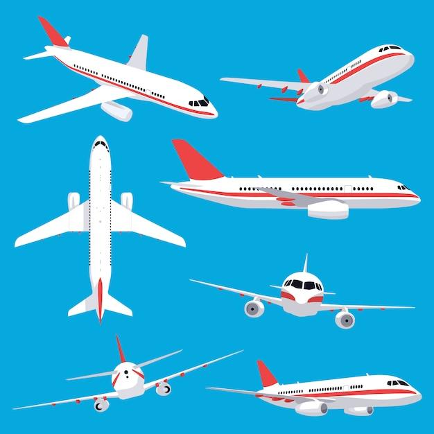 Aircraft transport. passenger flight jet airplane, aviation vehicles, flying airline airplanes   illustration icons set. plane aviation, trip jet, wing flight transport Premium Vector