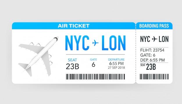 航空会社の搭乗券は、飛行機で旅行に出かけます。航空券。図。 Premiumベクター