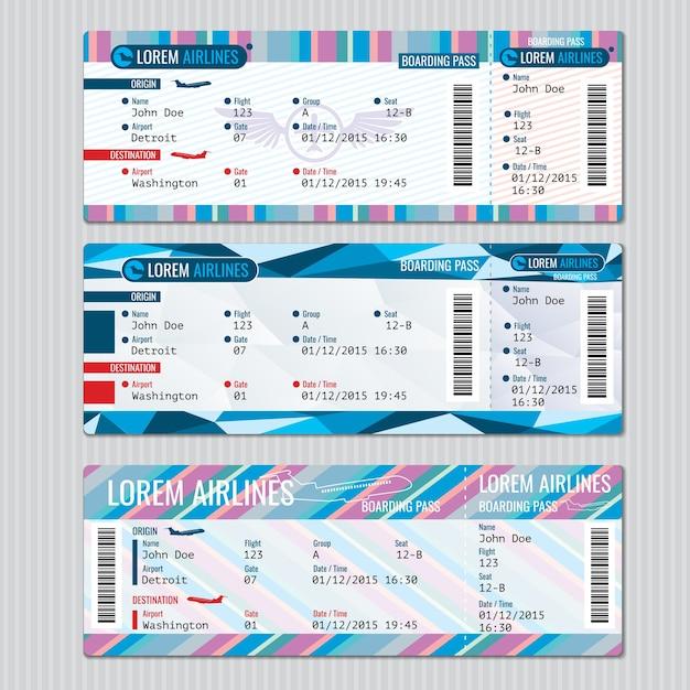 航空会社の搭乗券のベクトルテンプレート。カードの乗客、旅行飛行機のイラスト 無料ベクター