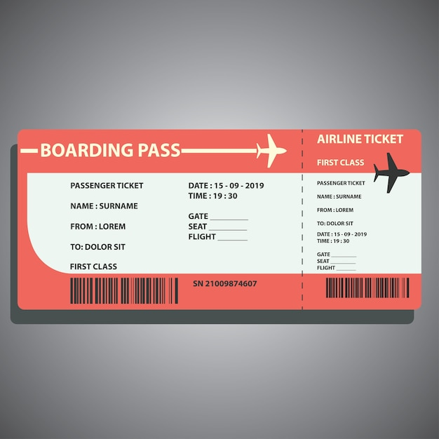 Airline boarding ticket for traveling by plane Premium Vector
