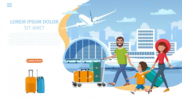 Airline company cartoon vector website template Premium Vector