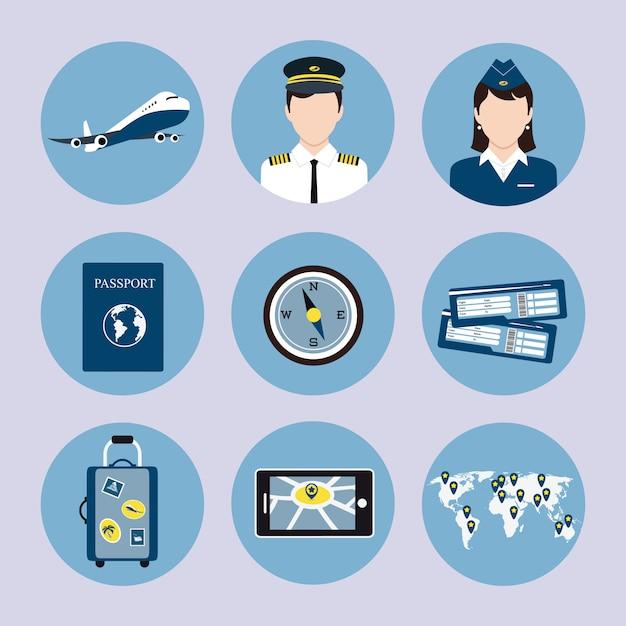 Airline icons set Premium Vector