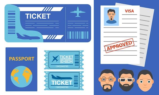 航空券、航空券、旅客機、パスポートまたはビザ申請、男性の漫画のキャラクター、旅行移民、ビザのスタンプ、地球の地図 Premiumベクター
