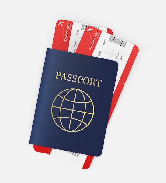 あらゆる目的に最適な航空券。パスポートと航空券の手。図。 Premiumベクター