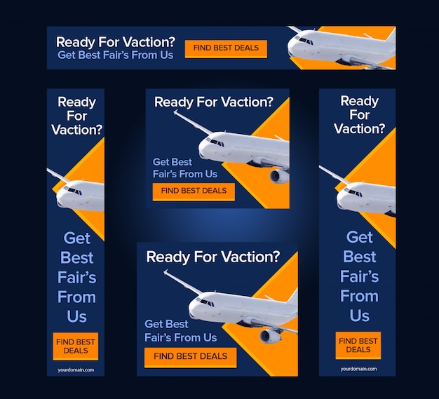 Airline Web Banner Templates Vector