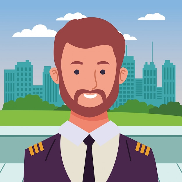 Airliner pilot smiling profile cartoon Premium Vector