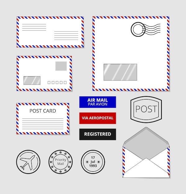 航空便の封筒、はがき、バッジのセット。手紙に切手を貼る 無料ベクター