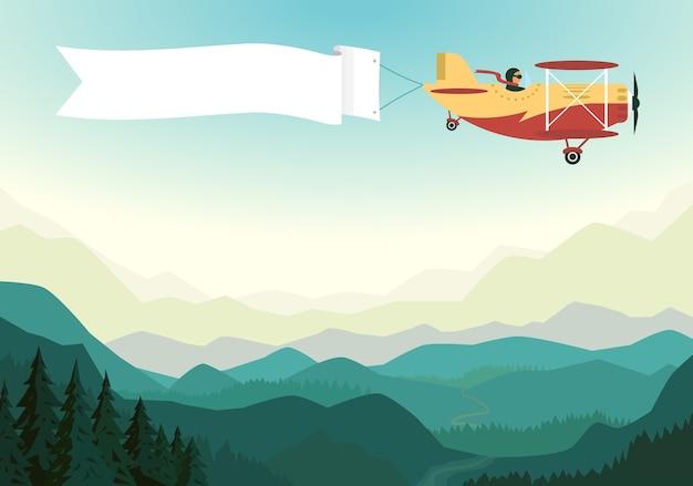 Самолет над горами с белой лентой в голубом небе. Premium векторы