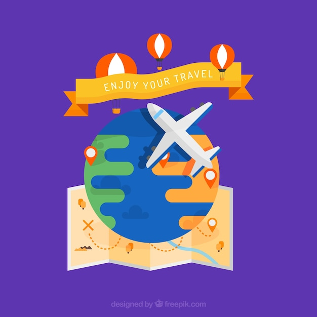 Airplane background with map and hot air\ balloons in flat design