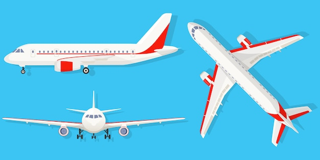 Airplane on blue background in different point of view. airliner in top, side, front view. flat style Premium Vector