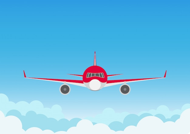 Airplane on blue sky background Premium Vector
