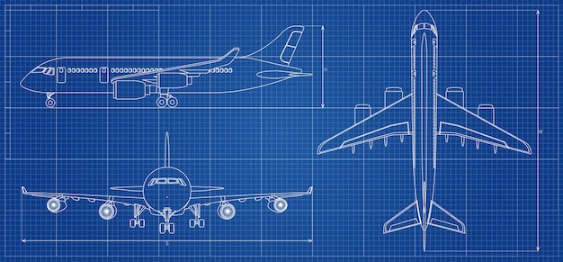 Airplane blueprint. outline aircraft. vector illustration Premium Vector