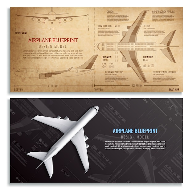 Airplane blueprint two horizontal banners with dimensioned drawing of passenger aircraft realistic Free Vector