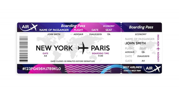 Airplane boarding pass ticket template Premium Vector