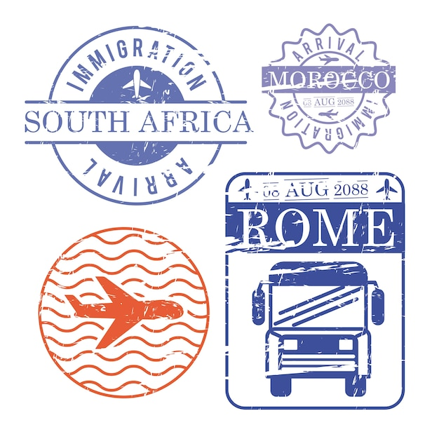 Airplane and bus travel stamps Premium Vector